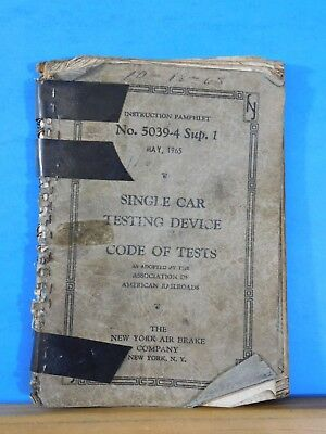 New York Air Brake Co Instruction Pamphlet #5039-4 Sup 1 Single Car Testing Devi