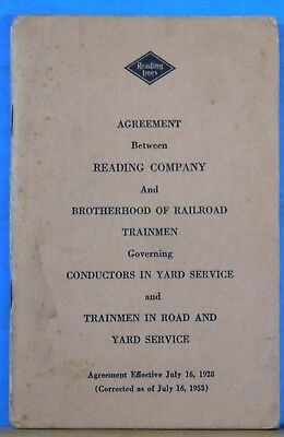Reading Lines Agreement Conductors in Yard Service and Trainmen 1953