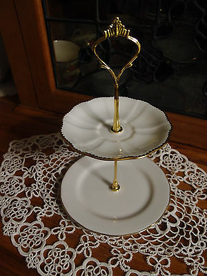 Vintage Queen Anne and royal crown derby biscuit trinket high tea stand 2 tier