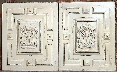 SHABBY CARVED WOOD PANEL MATCHED PAIR ANTIQUE FRENCH GRIFFIN GOTHIC CARVING 19th