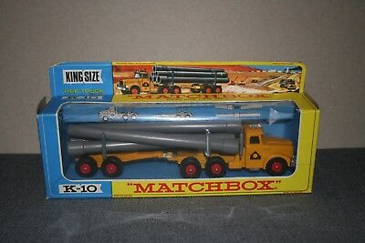 Matchbox King Size Scammell Pipe Truck K-10 (With Header Card on Box)