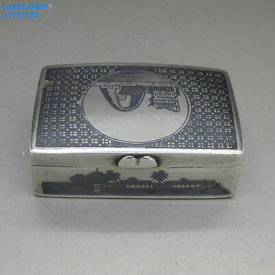 ANTIQUE MIDDLE EASTERN GOOD SOLID SILVER & NIELLO SNUFF BOX, 59mm, IRAQ c1920