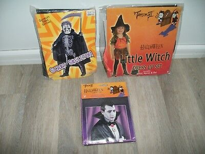 Job Lot Of Childrens Halloween Outfits - Skeleton Jumpsuit, Witch & Vampire Cape