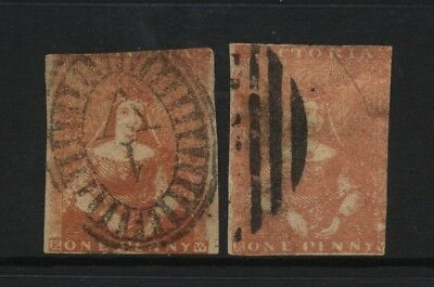 Australian States Victoria 2 Early QV 1d Queen on Throne Stamps Used