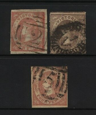 Australian States Victoria 3 Early QV Stamps Used