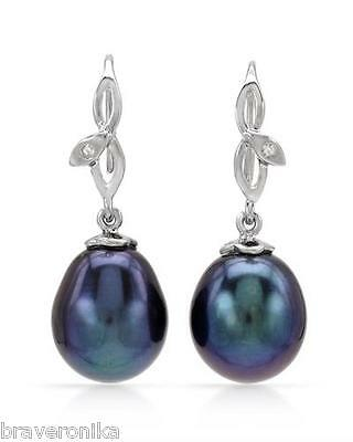 Imposing Earrings 18K White Gold With Freshwater Pearls & Diamonds. Brand New