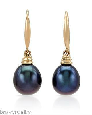 Earrings 18K Yellow Gold With Freshwater Black Pearls. Brand New