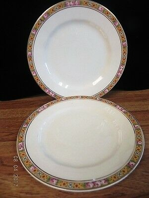 EDWIN M. KNOWLES Vitreous Saucers China ..gold Band Of Roses..set Of ...