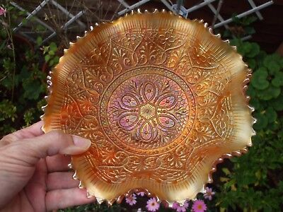 Carnival Glass.Northwood Dark Marigold Hearts And Flowers Bowl.Stunning Piece.