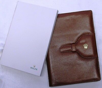 ROLEX BROWN LEATHER NOTE BOOK INC.FULL PAD & REFILL  20 x 13.5 cm, NEW & MINT