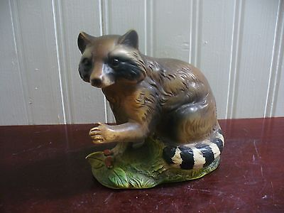 Vintage Napco Japan Handpainted Porcelain Raccoon Figurine
