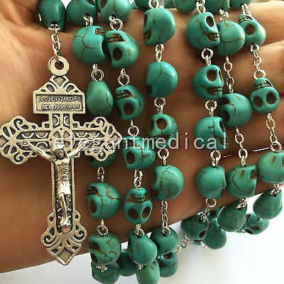 Large 10MM Turquoise skull bead Catholic Rosary silver Cross crucifix Necklace