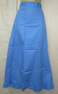 Light Blue Pure Cotton Frill Petticoat Skirt Sari Saree Wear summer US UK #FGH46