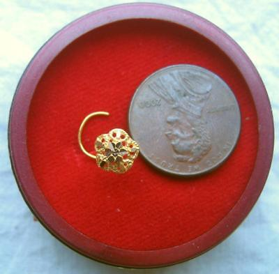 22k Real Solid Yellow Gold Nose Stud Flower 5 petals Jewel GIFT picture #FGH8A