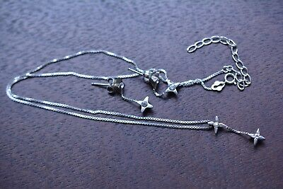 Vintage .925 Sterling Silver Star with Rhinestone Necklace & Dangle Earrings Set