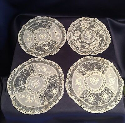 "Set of 4 Antique Normandy Lace 5 1/2"" Off White Rounds Doilies Napkins Nice Cond"