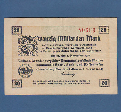 BERLIN Verband Brandenburger Kommunalverbände 20 Milliarden Mark 1923  III / VF