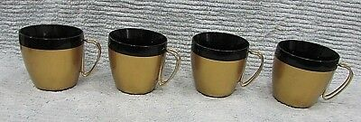Set 4 West Bend USA vintage plastic black gold wire handle coffee cups FREE S/H