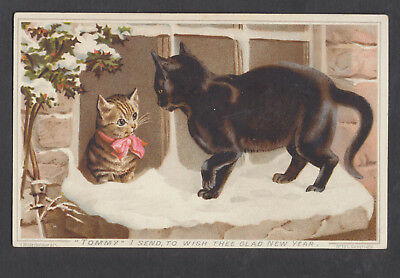 C8419 Victorian New Year Card: Cats in Snow