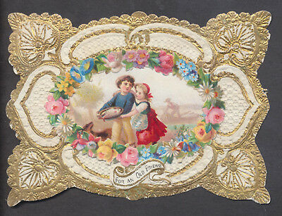 C8519 Good Small Victorian Paper Greetings Card: Chromo & Scrap Border 1870s