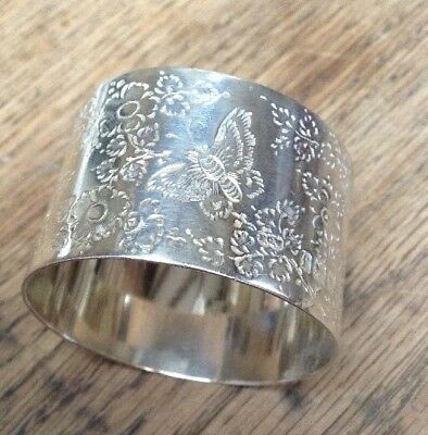 Heavy & Pretty Antique Solid Silver Serviette Napkin Ring Butterfly Engraved