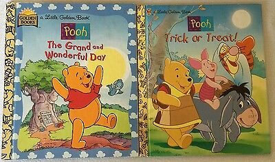 Lot of 2 Little Golden Books Winnie The Pooh Tick Or Treat & Grand Wonderful Day