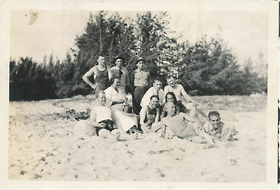1920 soldiers & Hawaii Family  at beach 4x6 Photo