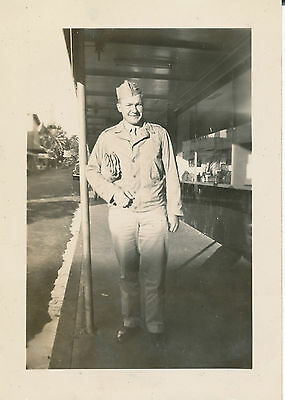 WWII 1944 posing on Hilo street  Hawaii Photo