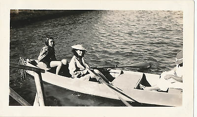 1930s pretty local gals on canoe ride Hawaii   photo