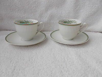 Royal Copenhagen Gron Melodi Green Melody - 2 Footed Demitasse Cups & Saucers