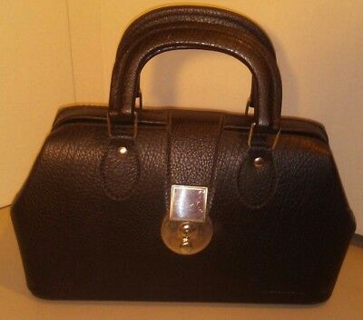"""Vintage Doctor Bag Black Leather Made in Hungary w/Lockable Latch 13"""" x 11"""" x 5"""""""