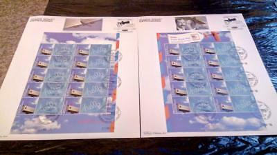 GB QEII SMILER Hello 1st Class stamp sheet, Concorde cancelled 2003