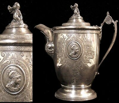 Antique Victorian Reed & Barton Roman Medallion Silverplate Water Pitcher Pot