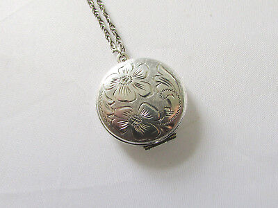 Vintage solid silver round shaped pendant locket & chain
