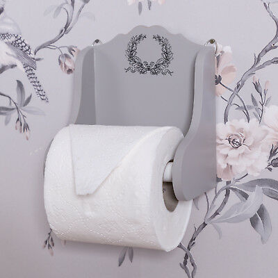 Grey Wooden Wall Toilet Roll Holder Shabby Loo Bathroom Dispenser Vintage Home