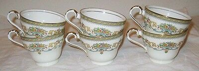 Aynsley China Henley 6 Tea Coffee Cup England Discontinued Green Stamp Gold Trim