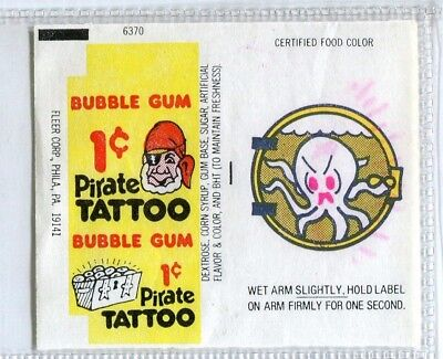 Vintage PIRATE TATTOO BUBBLE GUM Wrapper Tattoo OCTOPUS