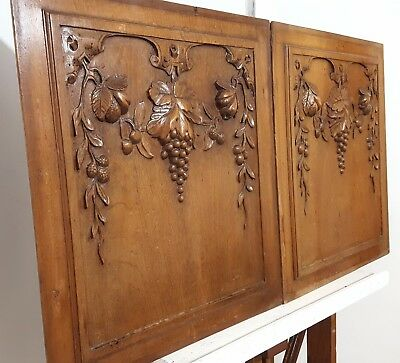 Hand Carved Wood Panel Matched Pair Antique Grapes Vine Fruit Salvaged Carving