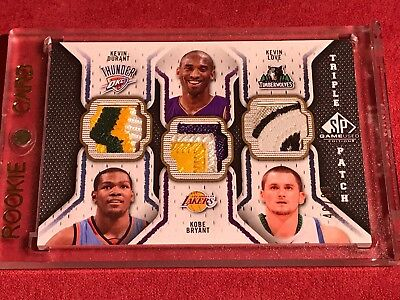 KOBE BRYANT 2009-10 SP GAME USED Triple Patch 40/60 KEVIN DURANT KEVIN LOVE RARE