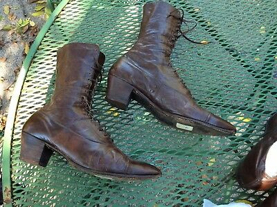 Antique Victorian high top shoes boots brown steampunk French heel size 7