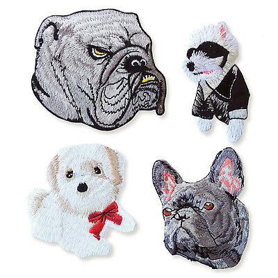 French British Bulldog Westie Shih Tzu Iron on Appliques Embroidered Patches DOG