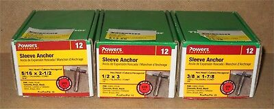 Lot of 3 NEW BOXES Hillman Hex Head SLEEVE ANCHORS for Concrete, Brick, Block
