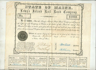 1857 Lewy's Island Rail Road Company Maine Bond Certificate