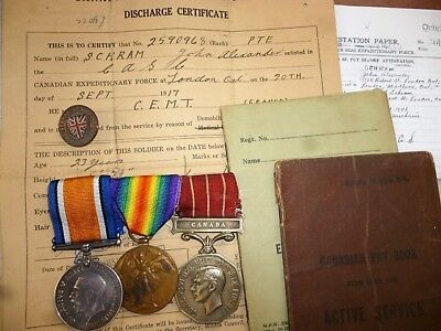 WW1 Pair & Can. Forces Medals to  Schram, Canadian Engineers with Pay Books etc