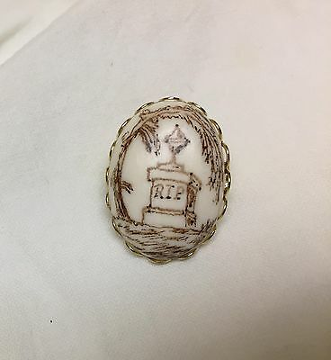 mourning brooch sepia artwork willow plinth urn reproduction 18 x 25 cabochon
