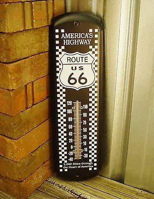 Metal Tin Thermometer Route 66 Black Mechanic Man Cave Shop Decor Wall Garage