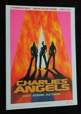 Charlie's Angels glossy british fold out synopsis  Drew Barrymore, Cameron Diaz