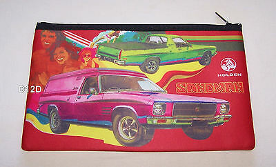 Holden HQ Sandman Panelvan Ute Red Printed Neoprene Zip Up Pencil Case New