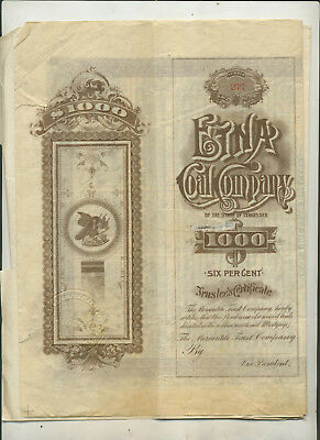 1888 Etna Coal Company Tennessee Mortgage Bond Certificate