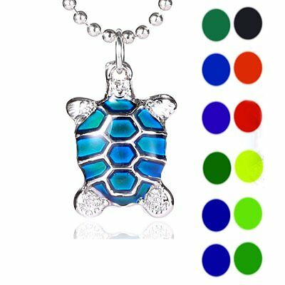 Tortoise Sensitive Changing Color Thermo Mood Pendant Necklace Jewellery Gift